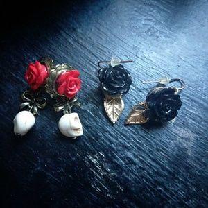 Skull and Rose earring set